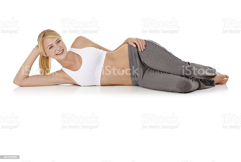Just relaxing after her workout stock photo