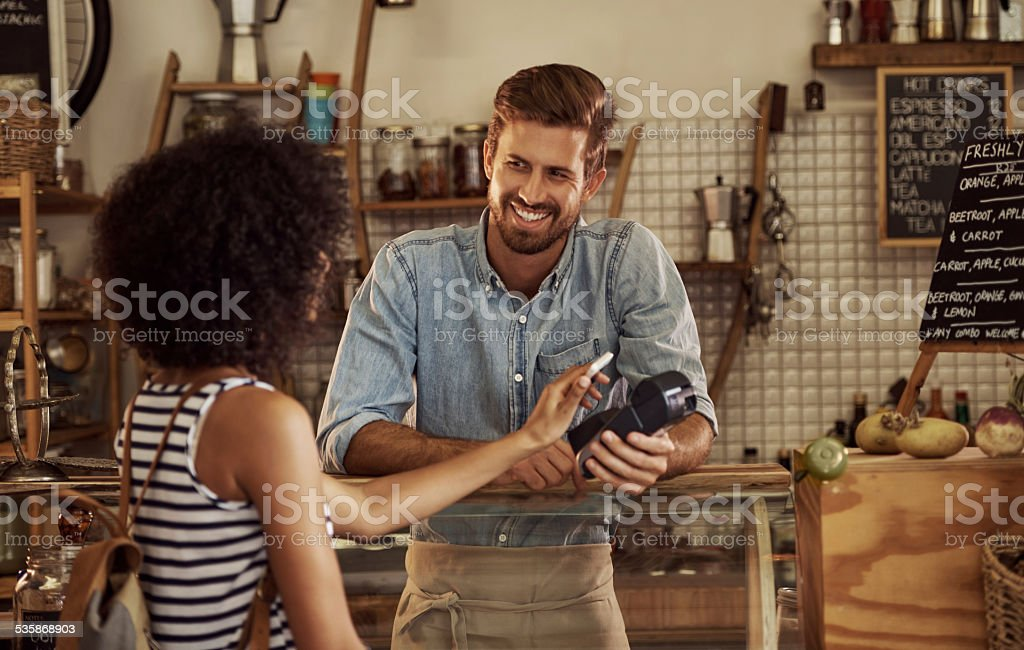 Just stopped in for a quick cup stock photo