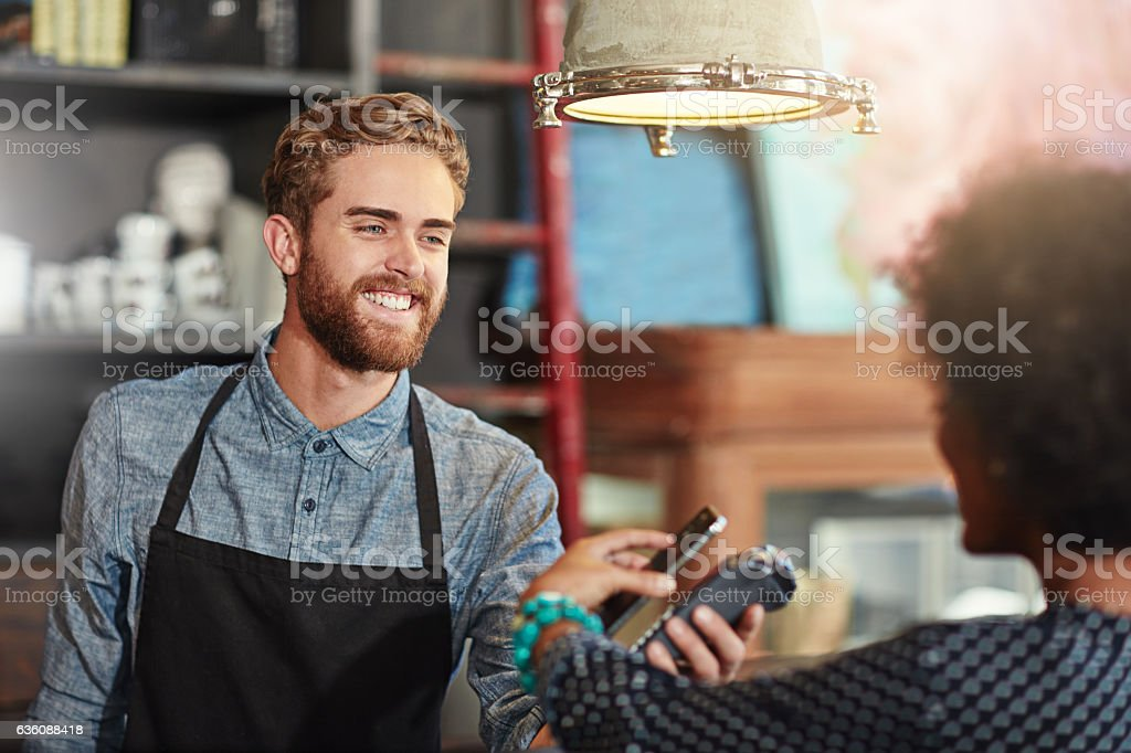 Just tap and go stock photo