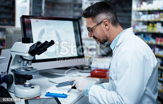 Shot of a mature pharmacist counting medication