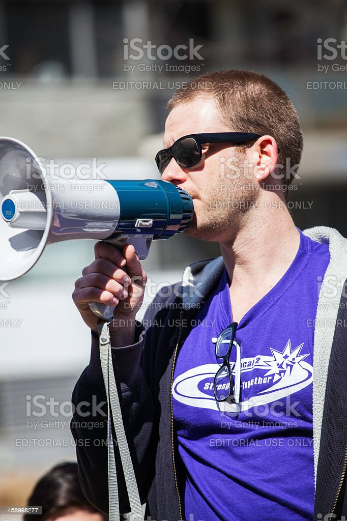 Just Us Coffee Protest Speaker royalty-free stock photo