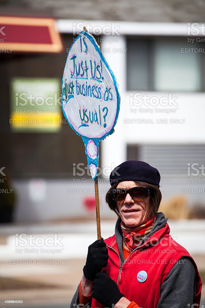 Just Us Coffee Protester royalty-free stock photo