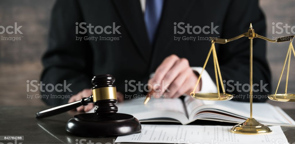 Justice and Law concept. Male lawyer in the office stock photo