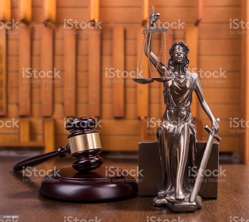 justice and Wooden gavel,law concept stock photo