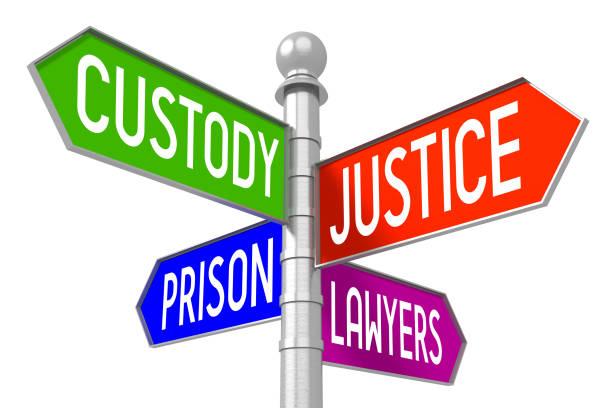 justitie concept - kleurrijke wegwijzer - four lawyers stockfoto's en -beelden