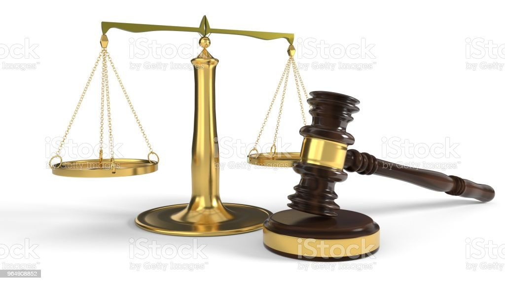 Justice concept court gavel and scales, 3d rendering royalty-free stock photo