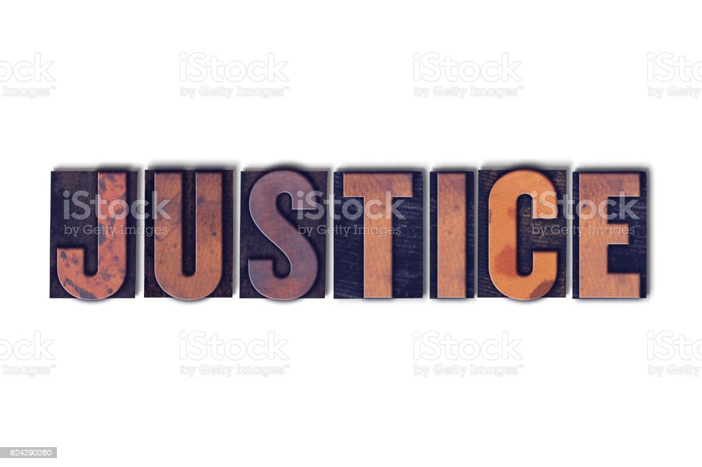 Justice Concept Isolated Letterpress Word stock photo