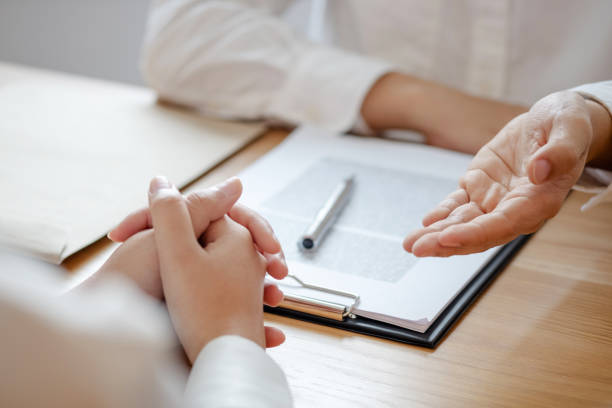Justice concept, lawyer consulting with client conversation about legal in law firm. stock photo