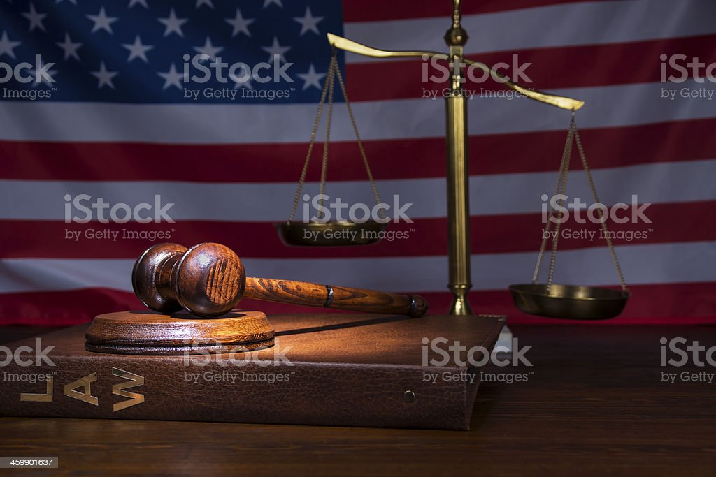 Justice gavel with scales stock photo