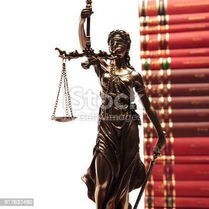 1070981872istockphoto justice goddess and law books 917632480