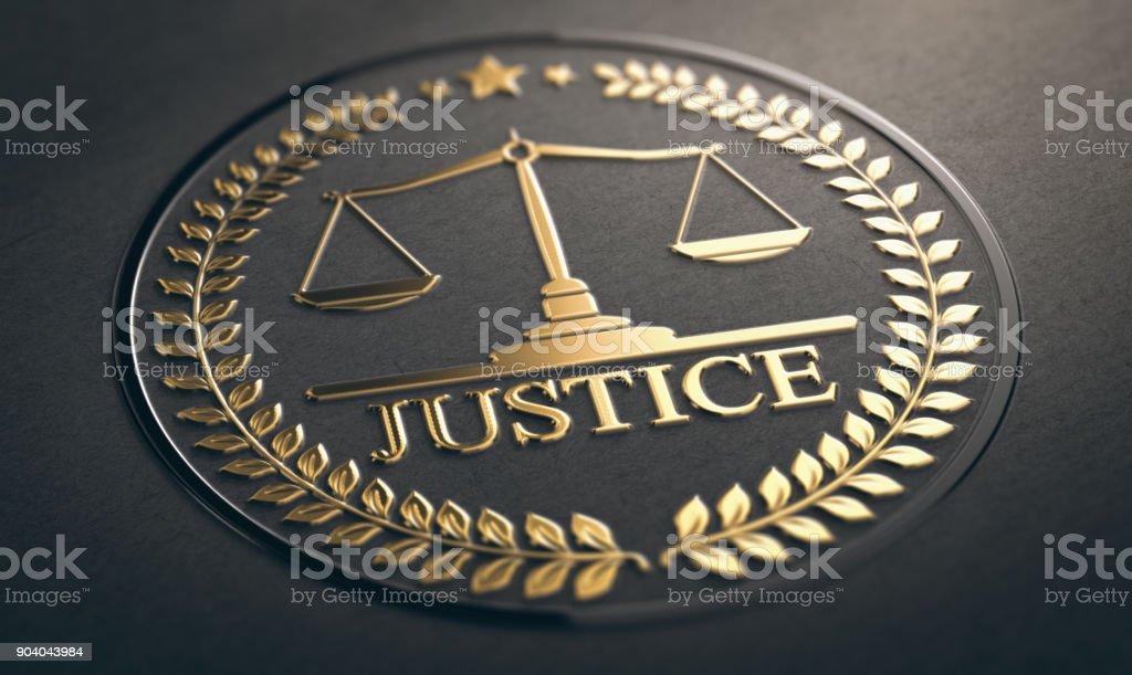 Gerechtigkeit, Recht und Gleichheit Symbol auf schwarzem Hintergrund – Foto