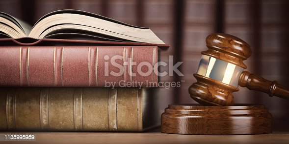 istock Justice, law and legal concept. Judge gavel and law books. 1135995959