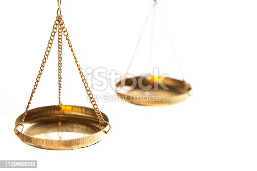 istock Justice law judge brass balance scales on white background. Close up with free space. 1139868088
