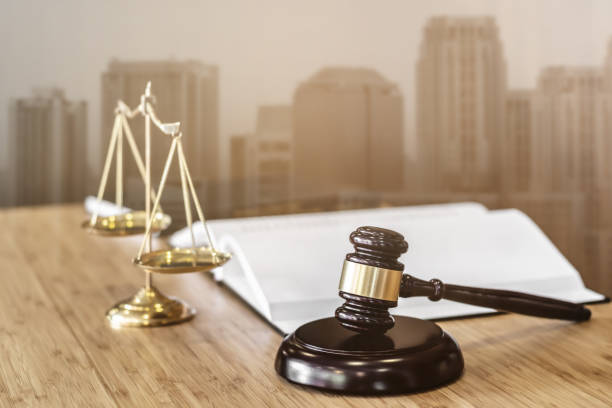 Justice or Real Estate Auction Concept, Judge's Gavel of lawyer in courtroom. stock photo