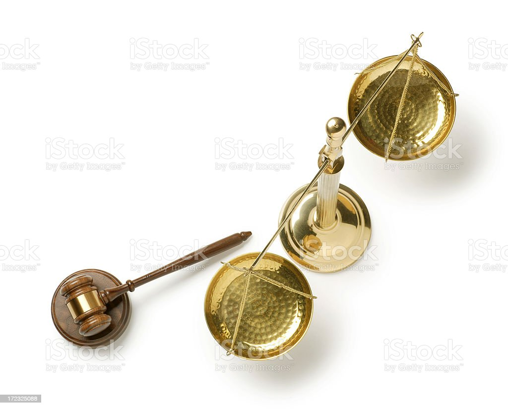 Justice Scale and Gavel stock photo