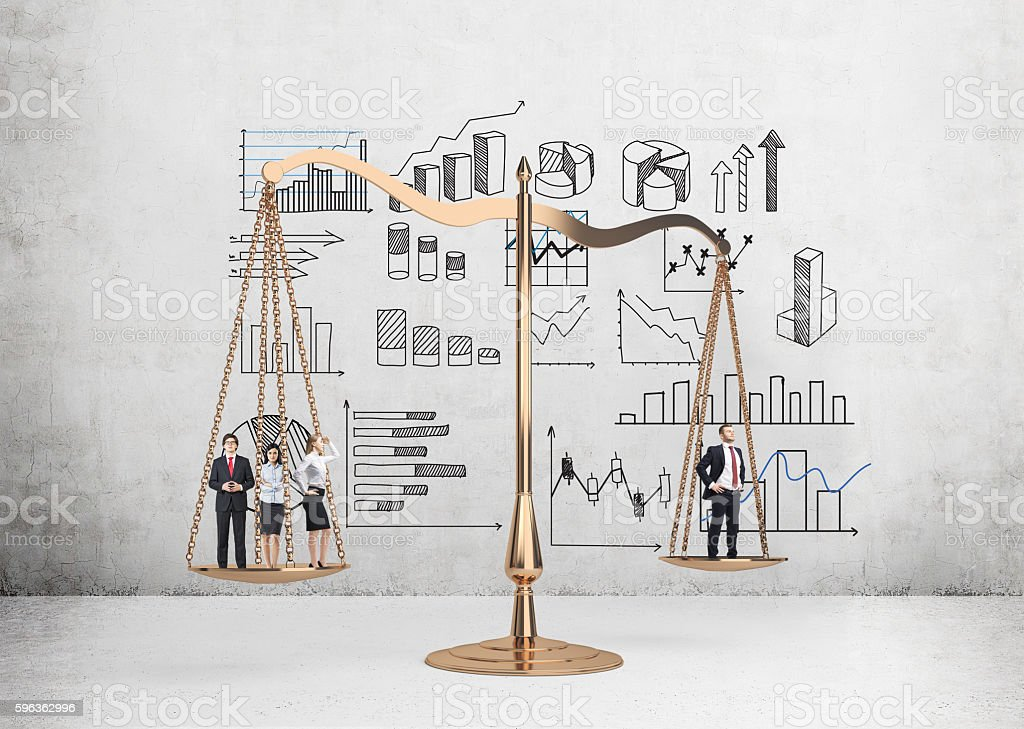 Justice scales and business charts royalty-free stock photo