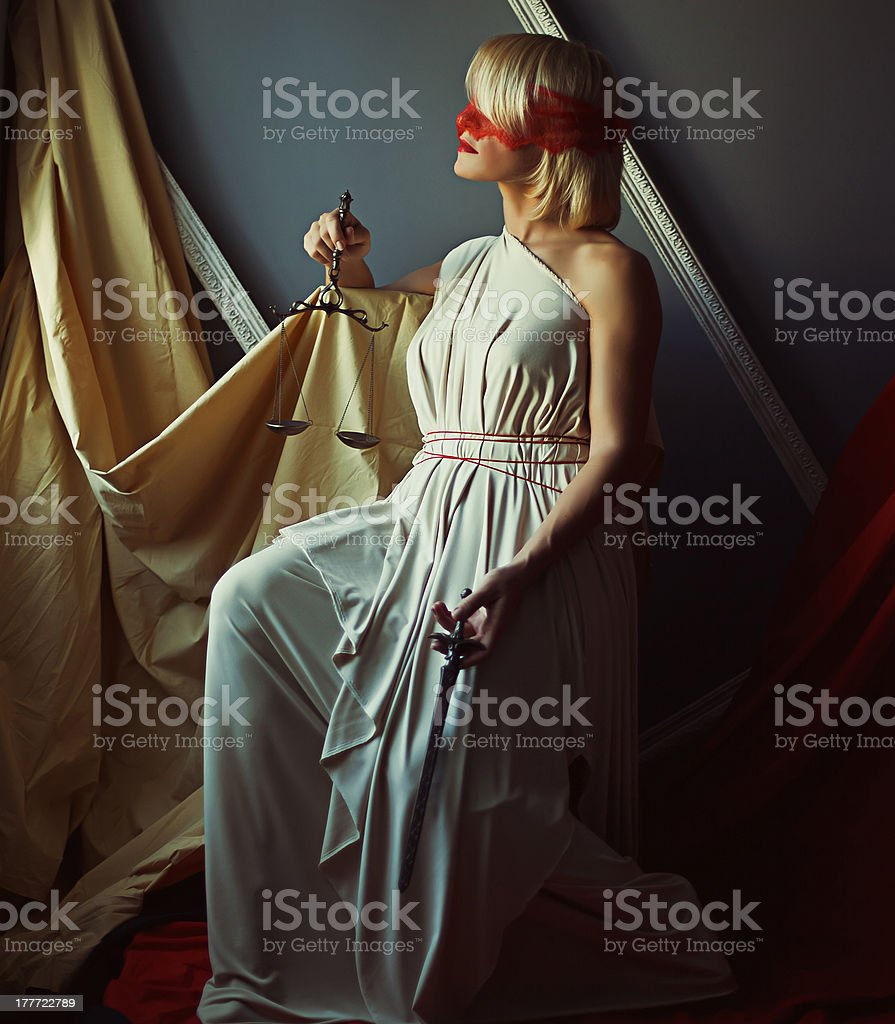 Justice sign style photo of blond woman royalty-free stock photo