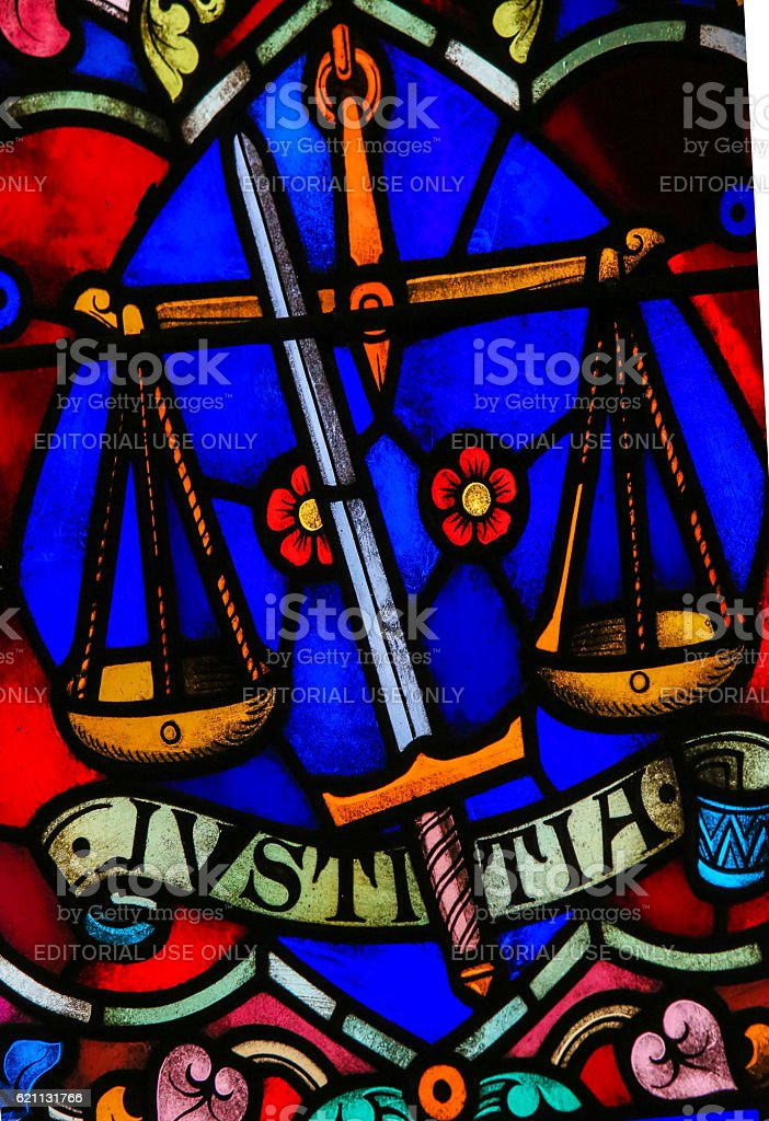 Justice - Stained Glass stock photo