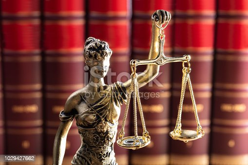 istock Justice Statue In Front Of Red Law Books 1029427662