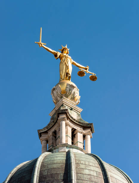 Justice statue in London stock photo