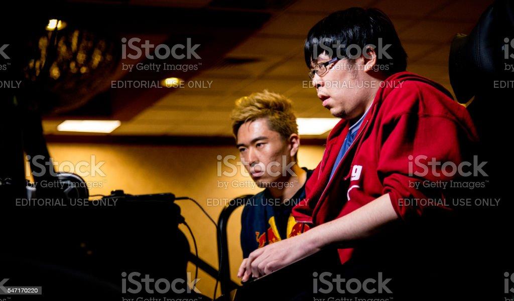 Justin Wong versus Bonchan playing Street Fighter V NCR 2016 stock photo