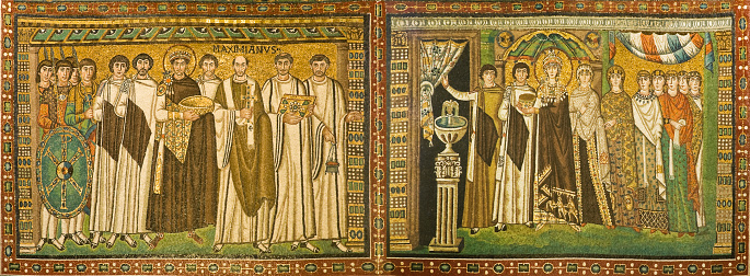 Emperor Justinian with his retinue (left) and Empress Theodora with attendants (right). Mosaics from the Basilica of San Vitale, Ravenna, Emilia-Romagna, Italy. The Basilica - built in the 6th centur - is one of the eight structures in Ravenna registered as UNESCO World Heritage Sites.
