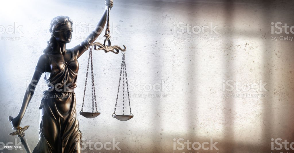 Justitia And Prison - Criminal Justice Concept stock photo