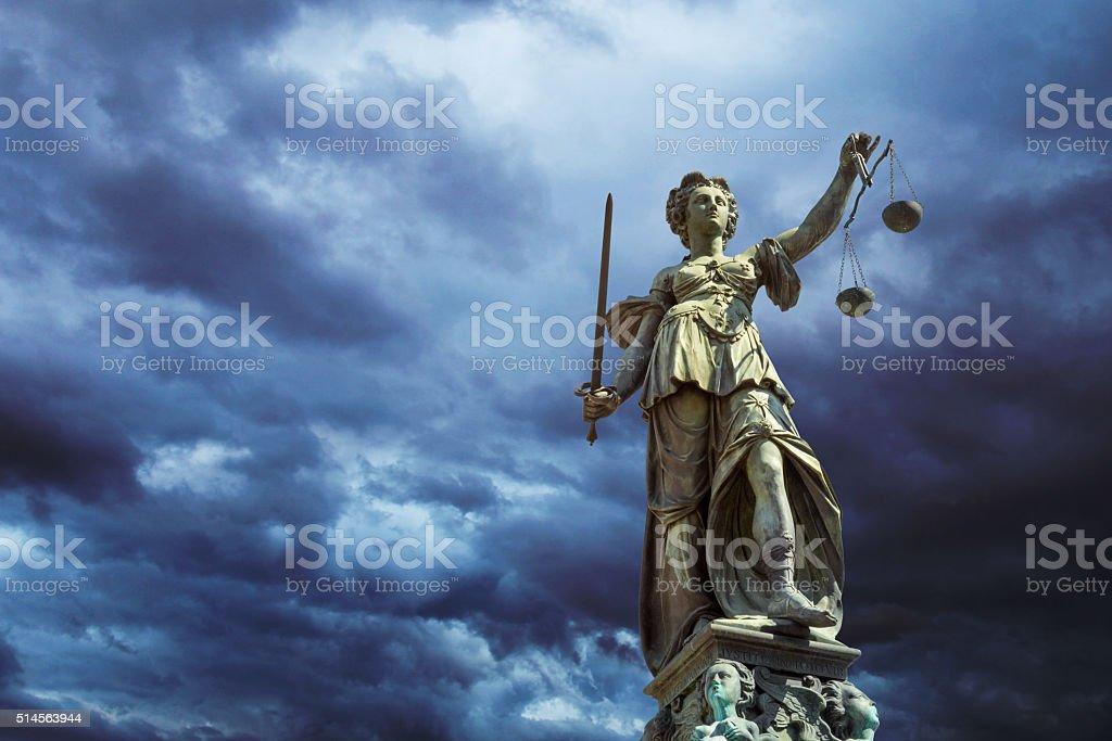 Justitia in Frankfurt stock photo
