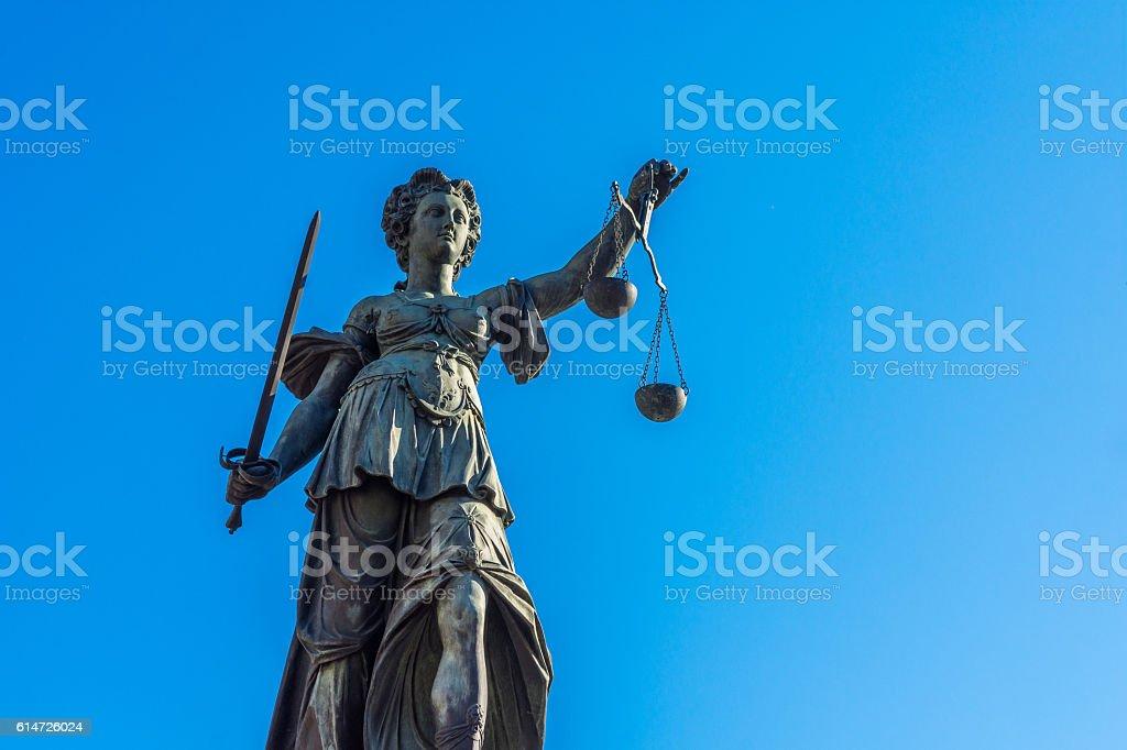 Justitia monument - Frankfurt stock photo