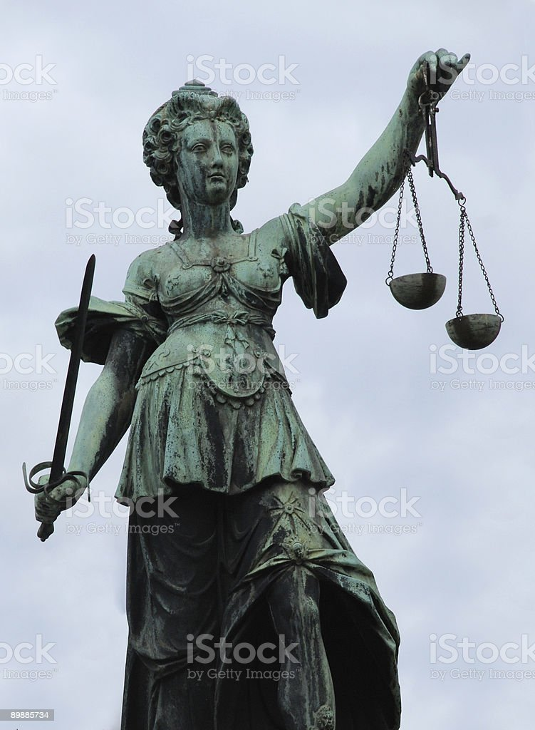 Justitia Statue Frankfurt stock photo