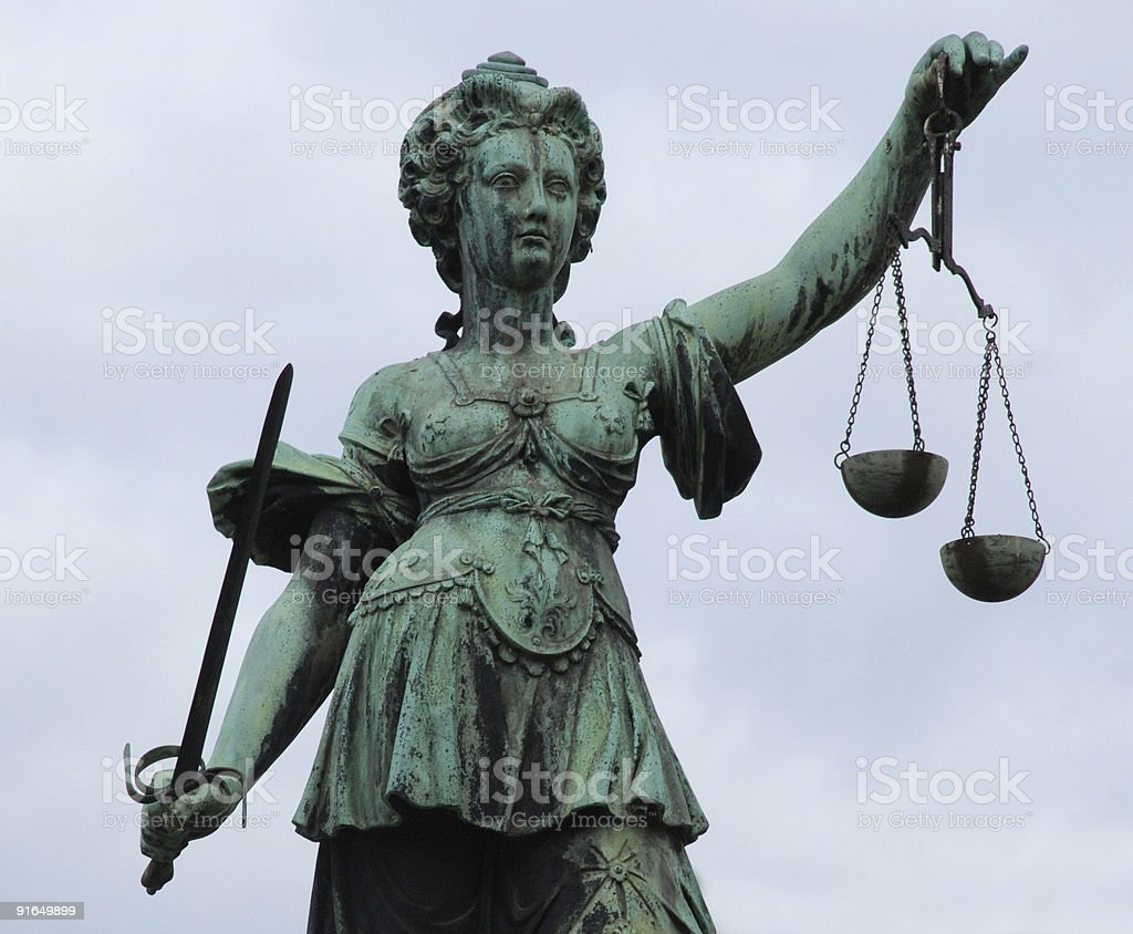 Justitia Statue - Frankfurt stock photo