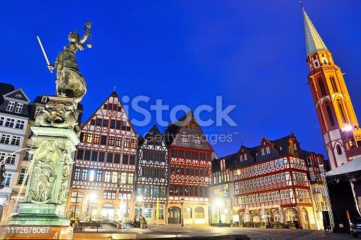 Fountain of Justice (Justitia) on the Römerberg in Frankfurt Am Main, Germany