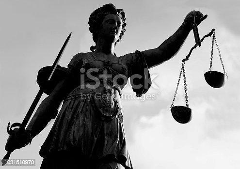 Justitia Statue in Frankfurt - Main, Hesse - Germany.