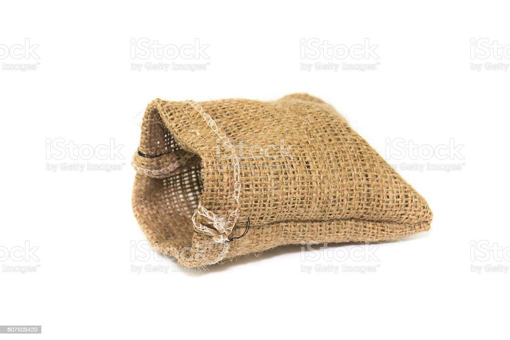 Jute bag isolated on white background stock photo