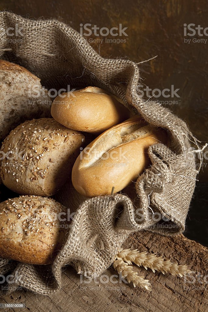 Jute bag with bread royalty-free stock photo
