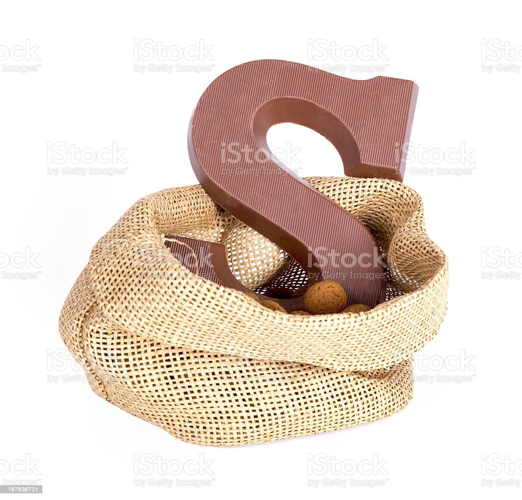 Jute bag with ginger nuts and chocolate; a Dutch tradition stock photo