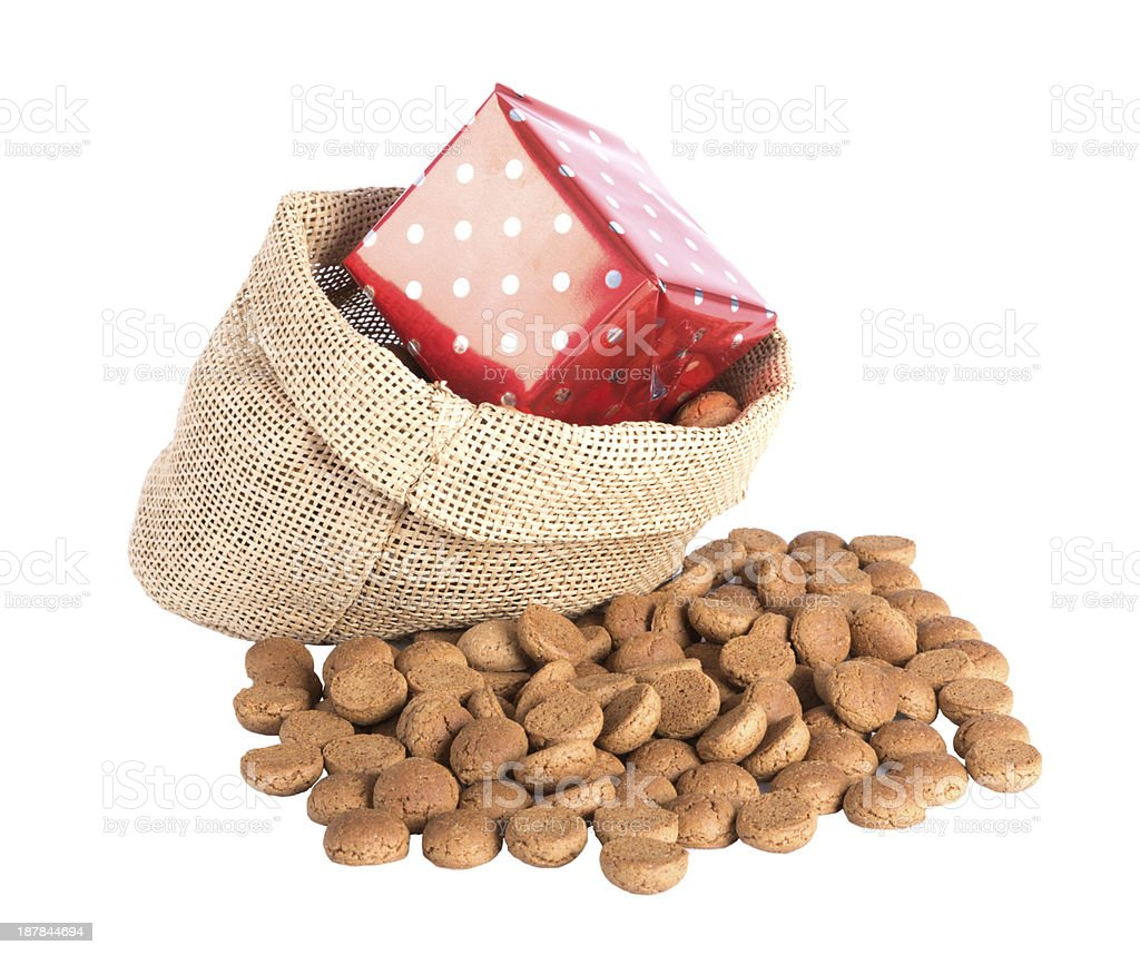 Jute bag with ginger nuts and presents, a Dutch tradition stock photo