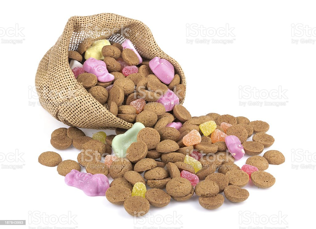 Jute bag with ginger nuts and sweets. stock photo