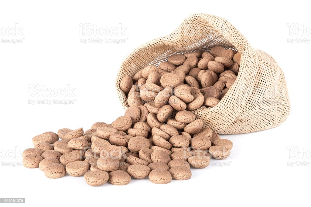 Jute bag with ginger nuts. Typical Dutch candy stock photo