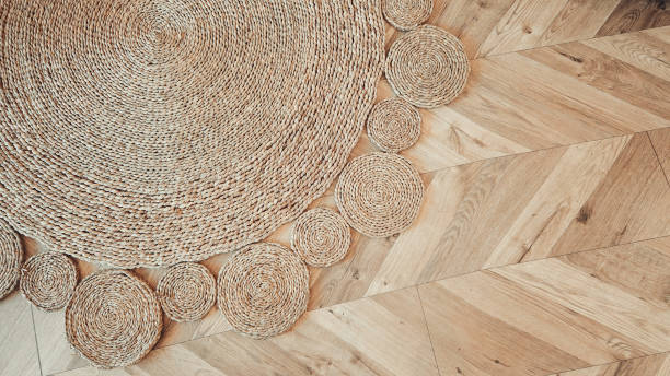 jute braided home spiral rug background texture pattern - sisal stock pictures, royalty-free photos & images