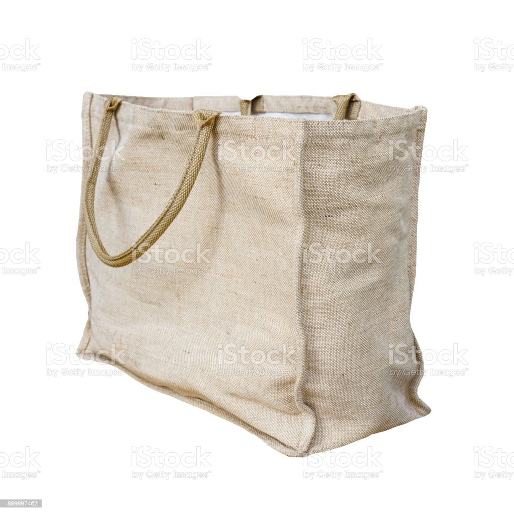 Jute tote bag isolated on white background with clipping path stock photo
