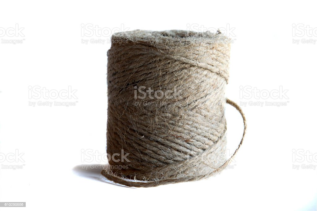 Jute twine against a white background stock photo