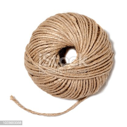 Jute twine ball isolated on white background.