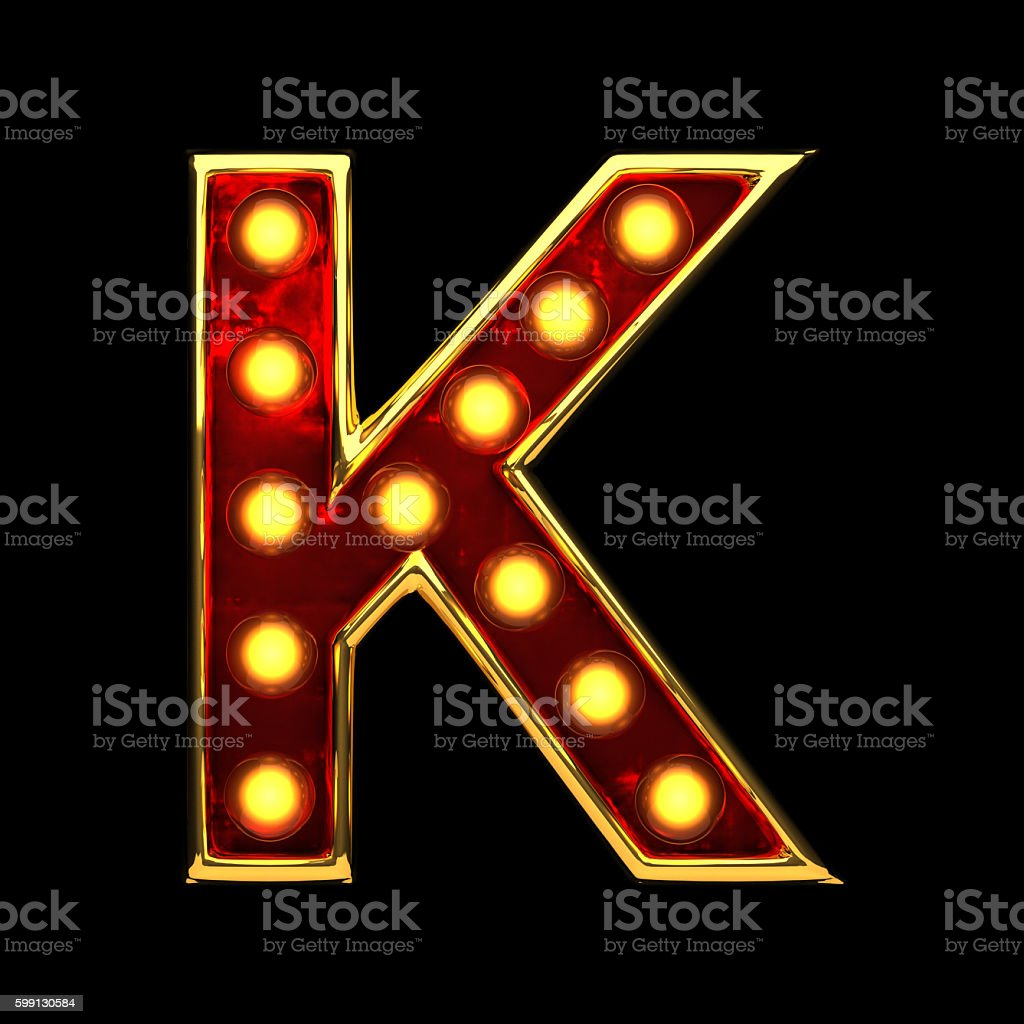 k isolated golden letter with lights on black. 3d illustration stock photo