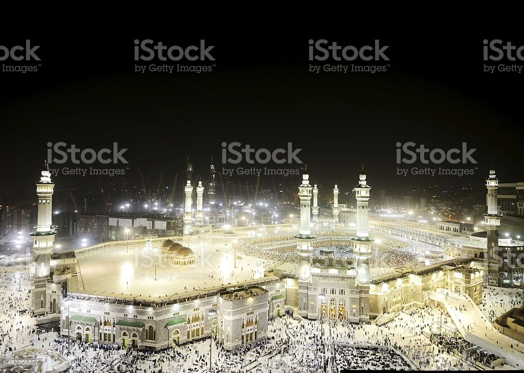 Kaaba in Mecca, Muslim people praying together at holy place stock photo