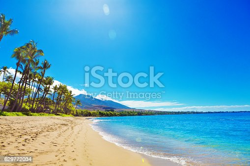 The Kaanapali Beach and resort Hotels on Maui Hawaii. A popular tourist destination on the west coast of the island of Maui. Lined with luxury hotels and entertainment district. Photographed in horizontal format with copy space.