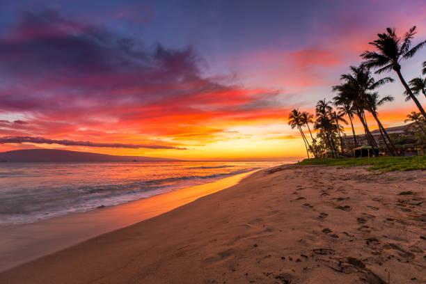 Kaanapali Beach at Sunset stock photo