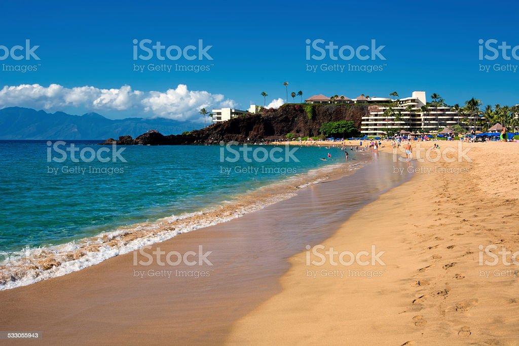Kaanapali Beach, Black Rock in the distance, Maui, Hawaii stock photo