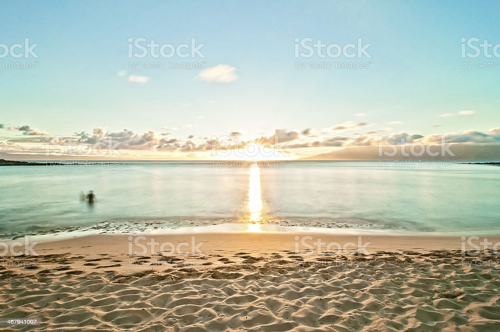 Kaanapali Beach (West Maui, Hawaii) empty at sunset stock photo