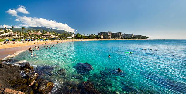 Kaanapali Beach from Black Rock, Maui, Hawaii stock photo